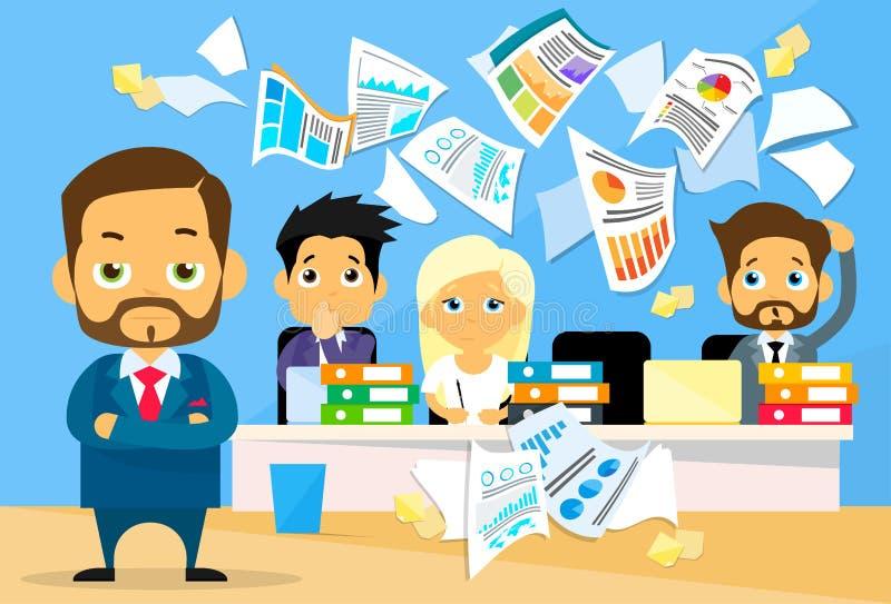 Des Konflikt-Geschäftsleute Problem-, Chef Team lizenzfreie abbildung