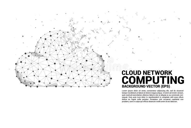 Des Konzeptpolygons des Datenverarbeitungsnetzes der Wolke verbundene Linie Punkt stockbilder