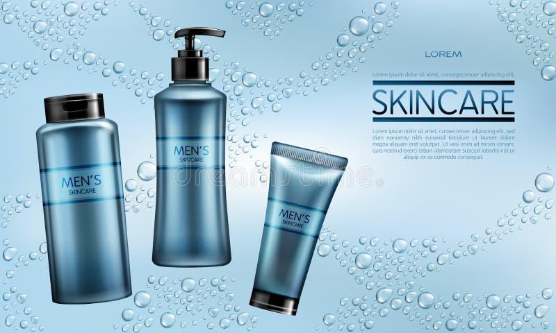 Des Kosmetikproduktes der Männer Vektor-Anzeigenfahne realistische stock abbildung