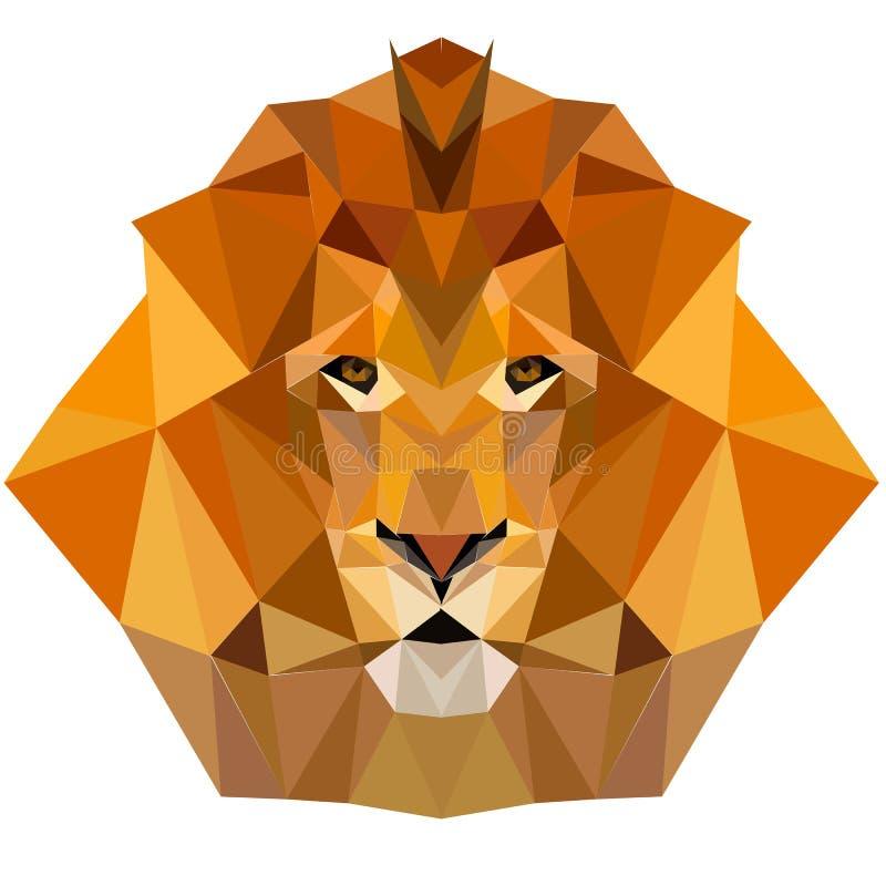 Des Löwes Polydesigngeometrischer Tierillustrationsvektor niedrig lizenzfreie stockfotografie
