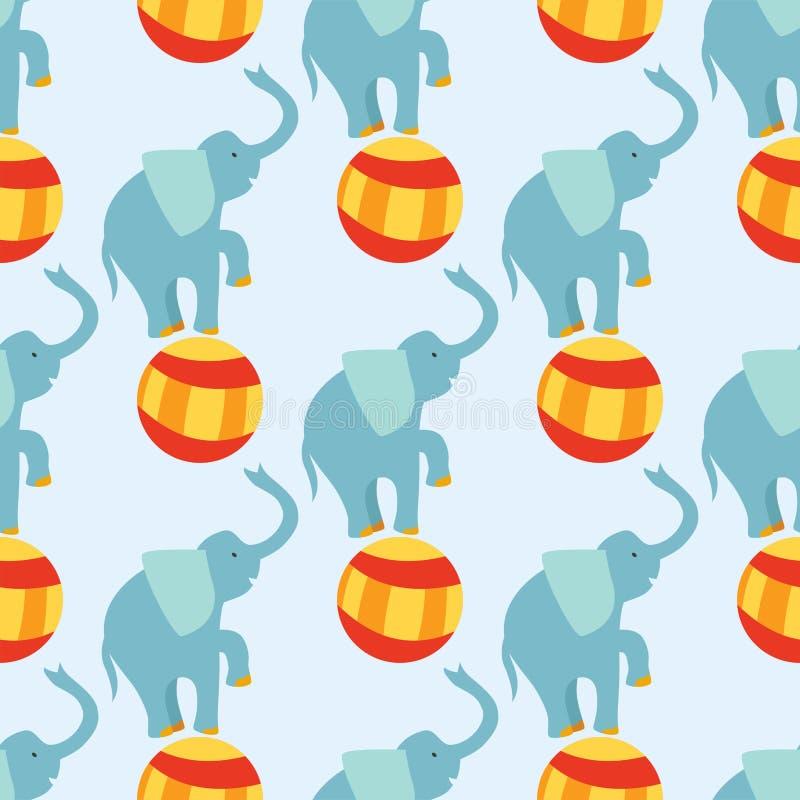 Des Leistungselefanttiervektors des Zirkusses Zoounterhaltungsjongleur-Magierausführender des lustigen Musters nahtlosen netter stock abbildung