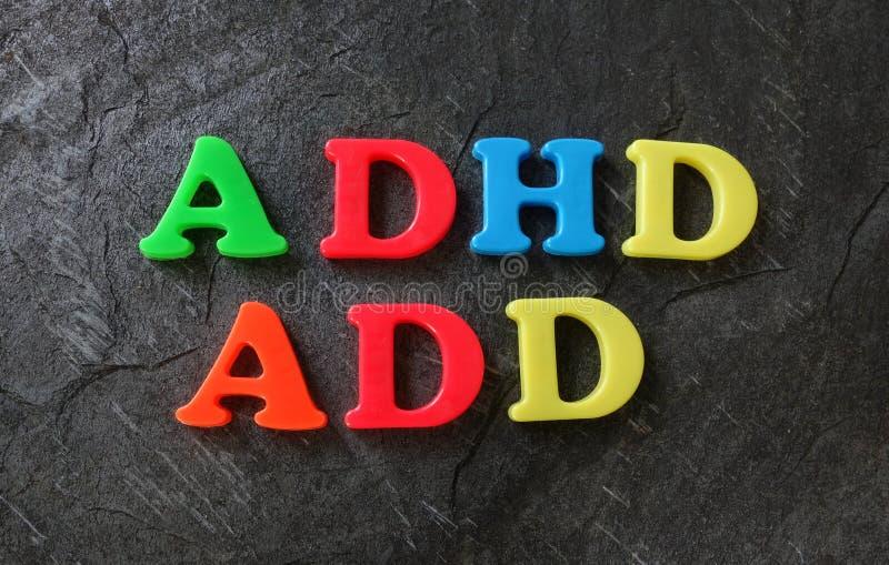 Des lettres AJOUTEZ et d'ADHD images libres de droits