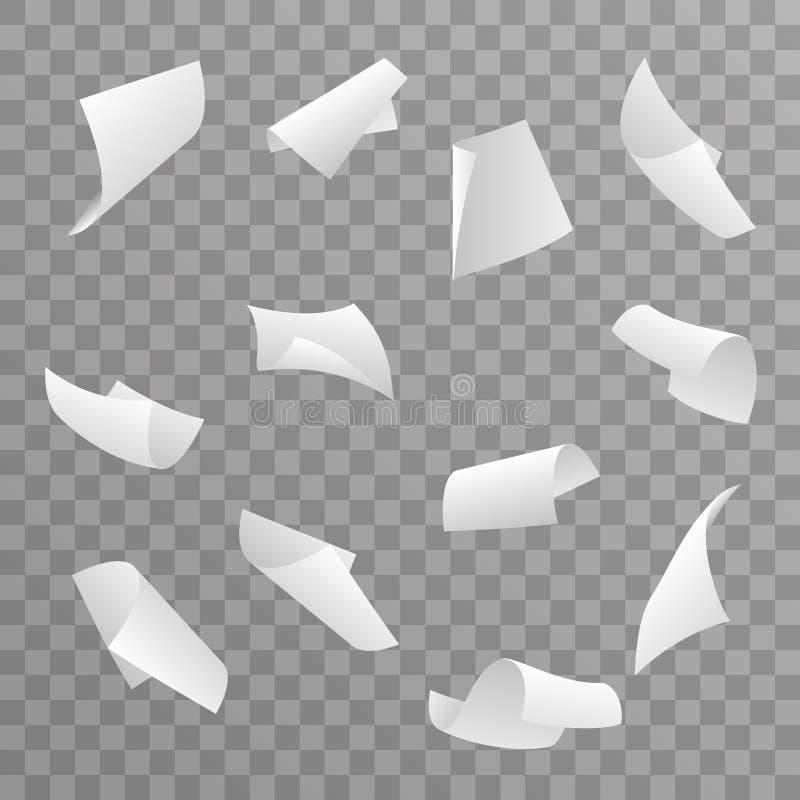 Des Lockenfliegensatzes des Blattes 3d des leeren Papiers Hintergrund-Vektorillustration transparente lizenzfreie abbildung