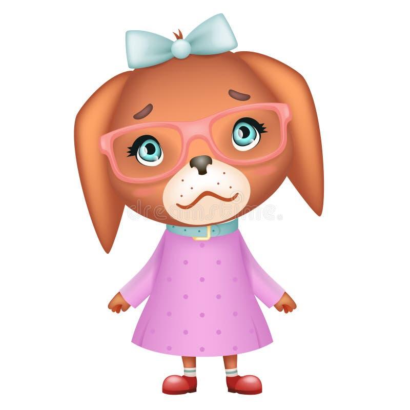Des Mädchenaussenseiters des Hündchens schöner der Lächelnjungshippie-Tierhaustierkarikatur netter lokalisierte Vektorillustratio lizenzfreie abbildung