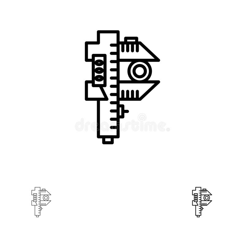 Des Maßes, kleiner, kleiner mutige und dünne schwarze Linie Ikonensatz Messens, der Genauigkeit, vektor abbildung