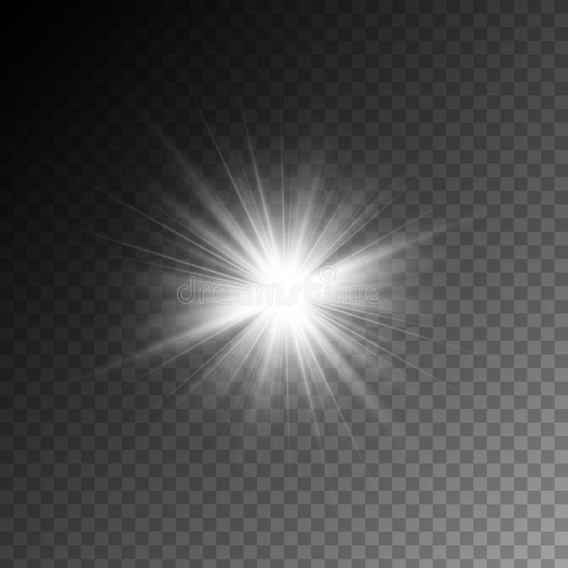 Des magischen weißen Lichteffekt Strahlnglühens des Vektors lokalisiert auf transparenten Hintergrund lizenzfreie abbildung