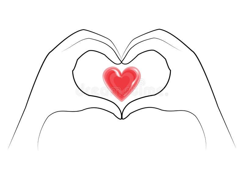 Des mains humaines sont pliées sous forme de coeur et coeur rouge Les gens de diff?rentes nationalit?s Jour de Valentine s Vecteu illustration stock