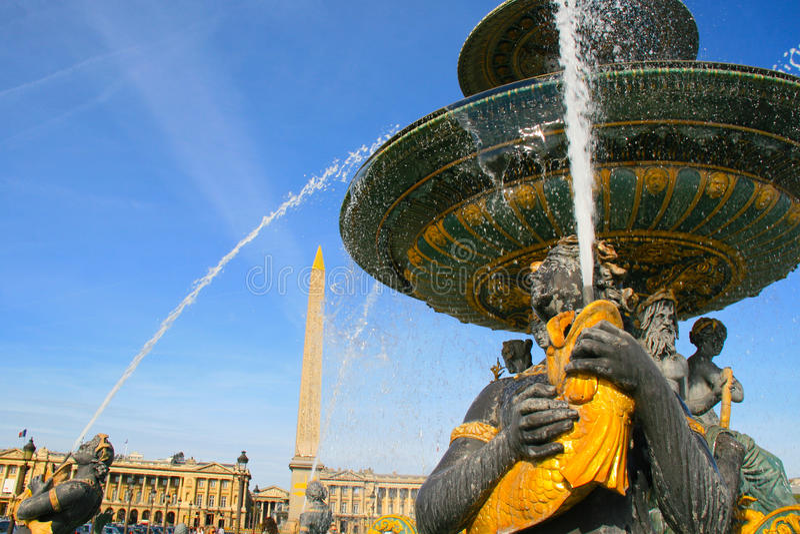 DES Mers di Fontaine al piazza de la Concorde a Parigi fotografie stock libere da diritti