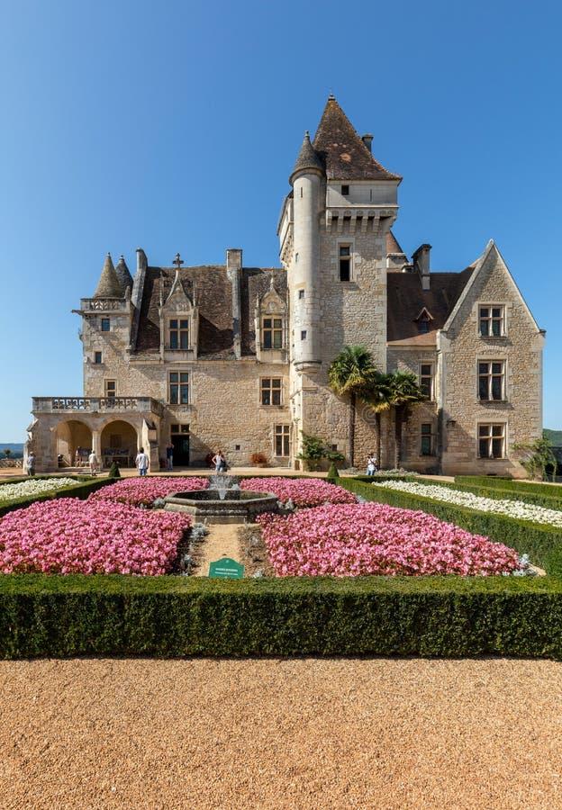 DES Milandes do castelo, um castelo no Dordogne, foto de stock