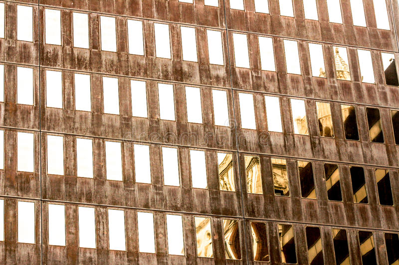 Des Miones. Reflections of an historic building downtown Des Moines, Iowa royalty free stock photos