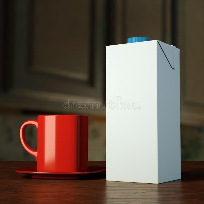 Des Modellfreien raumes der Darstellung 3d PAK-Paket der Schablone trinkt Tetra- für Saft Milch auf einem Holztisch mit einem rot lizenzfreie abbildung