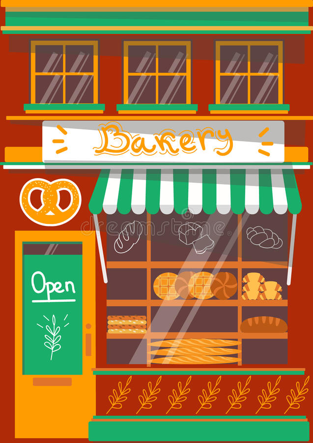 Des modernen ausführliche Fassade Bäckerei-Shops des Vektors stockfotografie