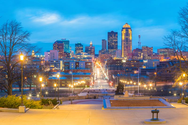 Des Moines Αϊόβα ορίζοντας στις ΗΠΑ στοκ εικόνες με δικαίωμα ελεύθερης χρήσης