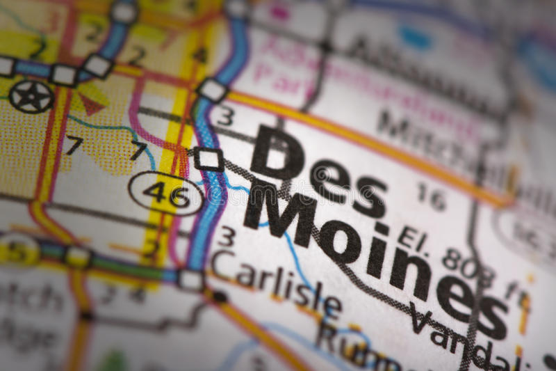 Des Moines en mapa imagenes de archivo