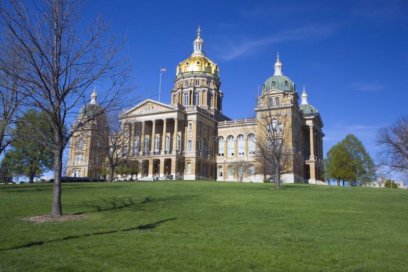 Des Moines, Iowa - condizione Campidoglio immagini stock libere da diritti