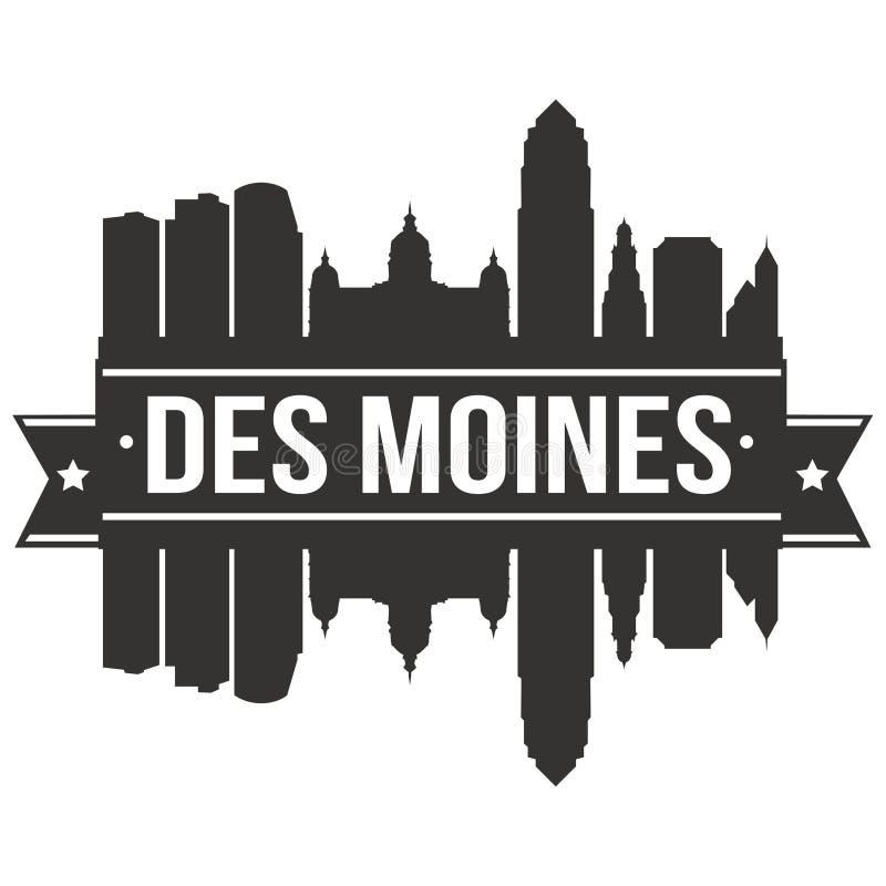 Des Moines Iowa de Verenigde Staten van Amerika de V.S. Malplaatje van het Silhoueteditable van Pictogram het Vectorart design sk royalty-vrije illustratie