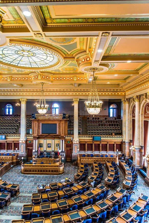 Des Moines Iowa de Zaal van de het Capitoolsenaat van de Staat stock foto's