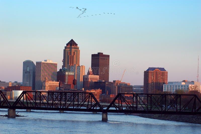 Des Moines, Iowa, horizonte imagenes de archivo