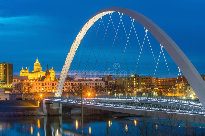 Des Moines Iowa skyline in USA royalty free stock images