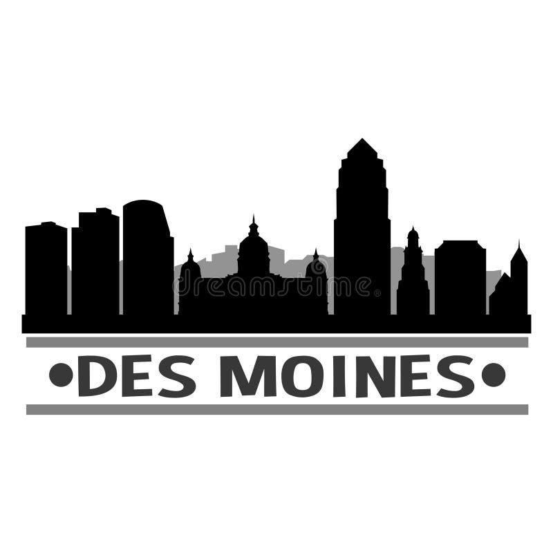 Des Moines Iowa Stany Zjednoczone Ameryka usa ikony sztuki projekta linii horyzontu Wektorowej nocy Płaski cień royalty ilustracja