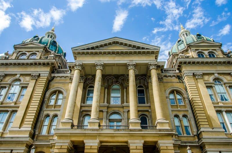 Des Moines Iowa statKapitolium arkivfoton
