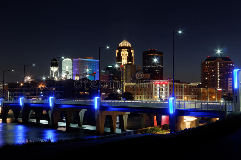 Des Moines linia horyzontu z Orlando uznaniem obraz stock