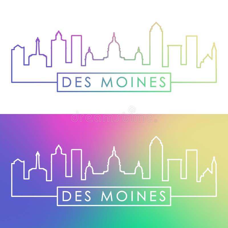 Des Moines miasta linia horyzontu Kolorowy liniowy styl royalty ilustracja