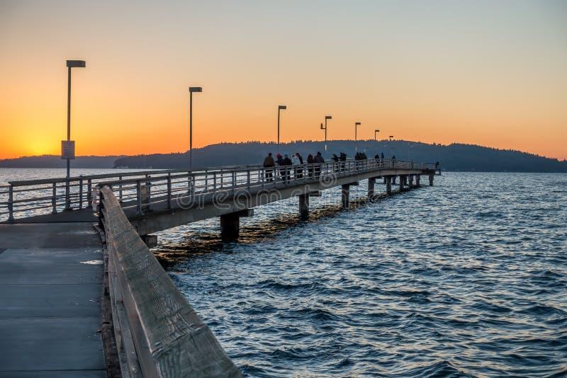 Des Moines Pier At Sunset royaltyfria bilder