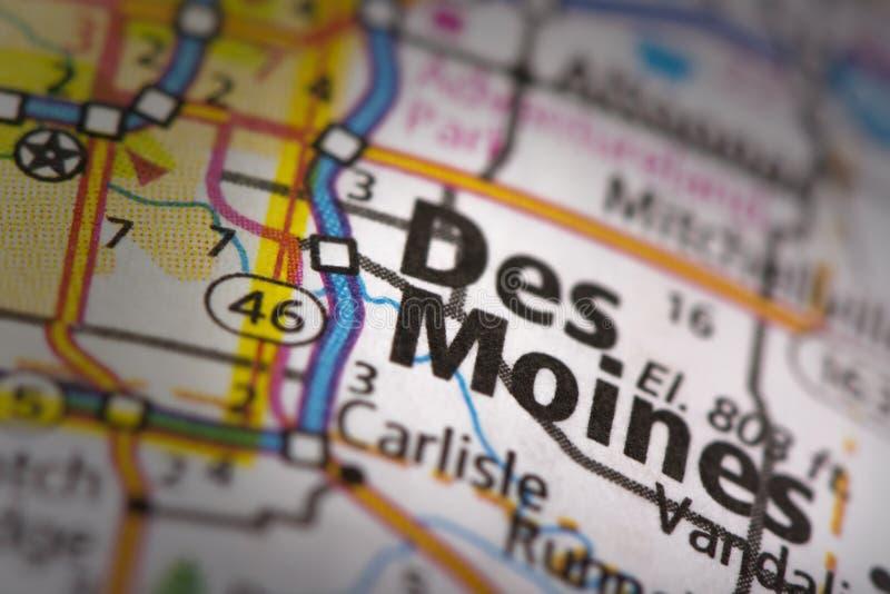 Des Moines sulla mappa immagini stock
