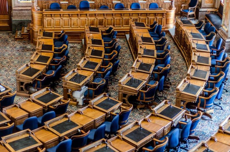 Des- Moinesstaat iowas-Kapitol-Senats-Raum stockbilder