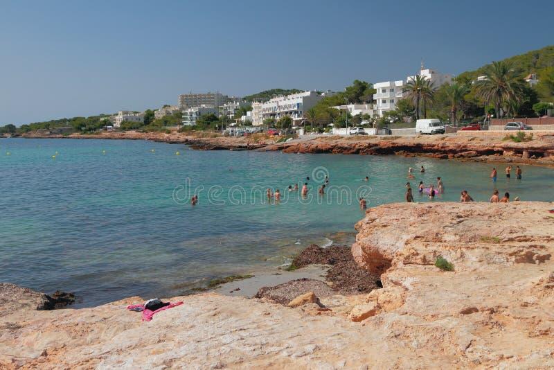 DES Moro di Calo della spiaggia e della baia San Antonio, Ibiza, Spagna fotografia stock libera da diritti