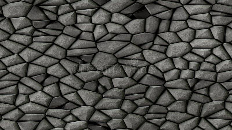 Des Mosaikmusters der Kopfsteinsteine unregelmäßiger nahtloser Hintergrund - des Schiefergraus der Pflasterung dunkle natürliche  vektor abbildung