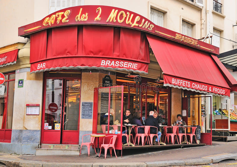 Des 2 Moulins кафа (француз для стоковое фото