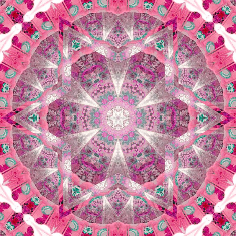 Des Musterhintergrundes des Kaleidoskopmosaiks heller rosa Keramikziegeleffekt stockfotografie