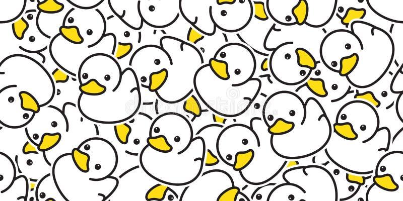 Des Mustervektors der Ente nahtloses Karikaturillustrationsvogelbadduschwiederholungstapetenfliesenhintergrund-Geschenk wra Gummi lizenzfreie abbildung