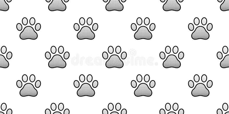Des Mustervektors der Hundetatze nahtloser der Karikaturrasterfolie Abdruck lokalisierter Schalwiederholungstapeten-Fliesenhinter lizenzfreie abbildung
