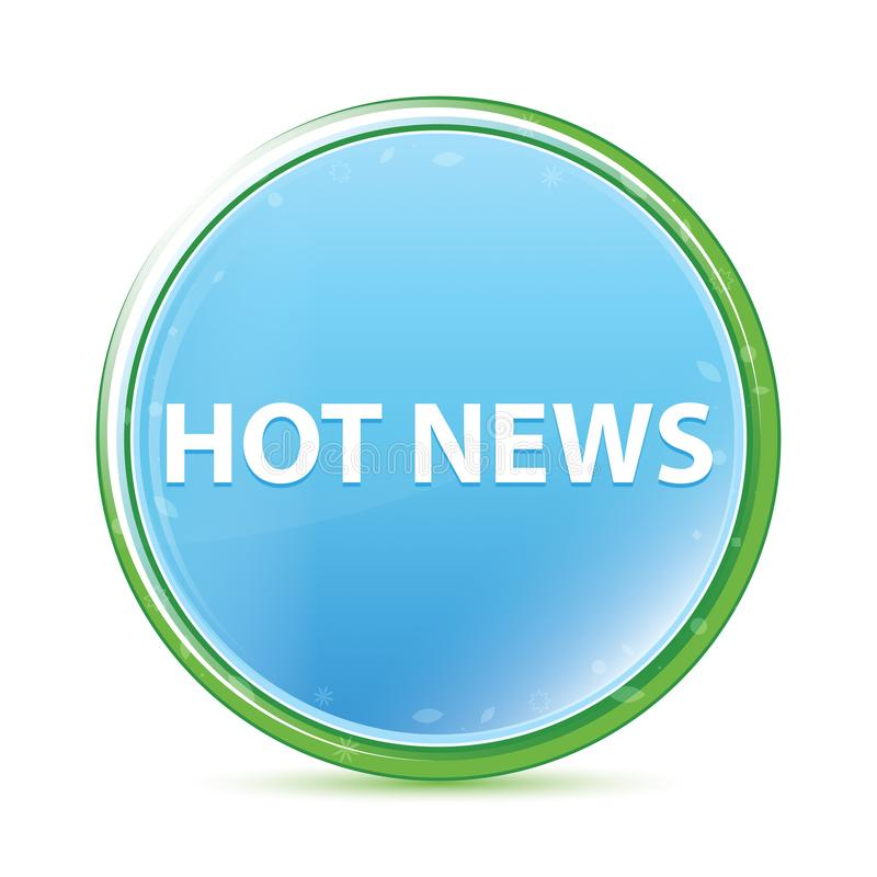 Des natürlichen runder Knopf Aqua-Cyanblaus der aktuellen Nachrichten vektor abbildung