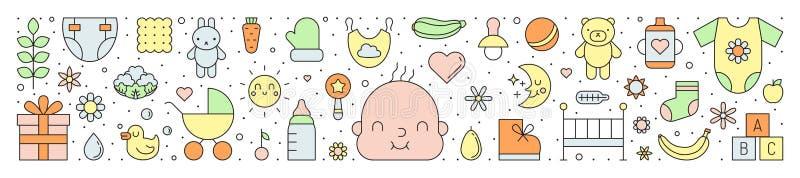 Des netten horizontaler Hintergrund Entwurfs-Vektors des Babys (Mädchen und Junge) lizenzfreie abbildung