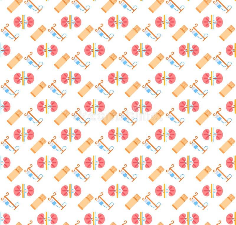 Des Nierenikonengesundheitswesens des Tropfenzählerpillenrohrs nahtloses Muster des anatomischen menschlichen Logomedizinsymbol-K stock abbildung