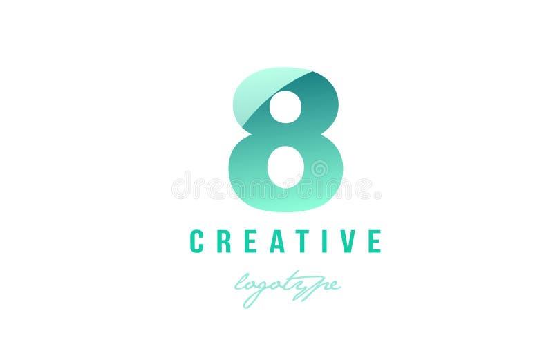 DES numeral do ícone do logotipo do dígito do número pastel verde do inclinação 8 oito ilustração do vetor
