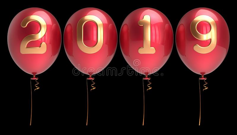 Des Parteiballons vier des neuen 2019 Jahres Tagesvereinbartes rotes Gold der Reihe stock abbildung