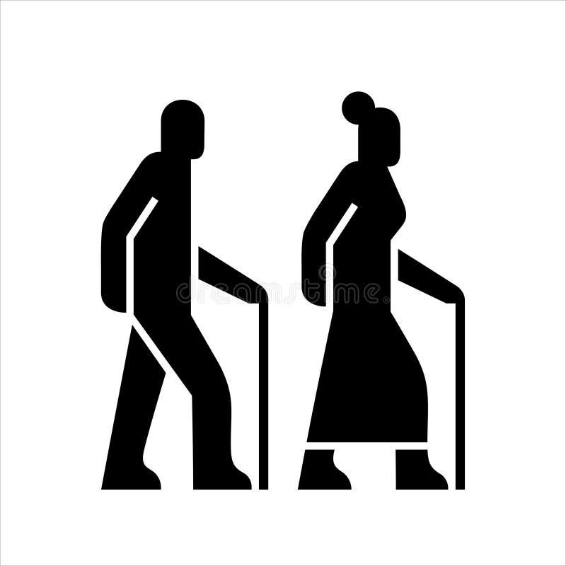 Des personnes plus âgées sur un signe de promenade, des silhouettes d'icônes d'un homme et une femme âgée avec une canne, symbole illustration de vecteur