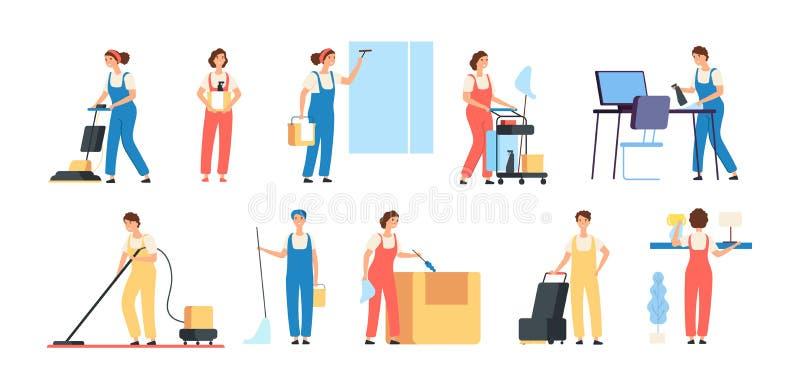 Des personnes plus propres Décapants hommes-femmes de nettoyage de travailleurs de service dans l'équipement de ménage nettoyant  illustration de vecteur