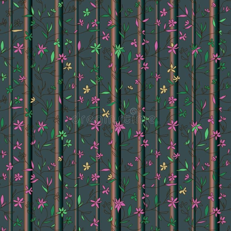 Des petites fleurs dessinées à la main sur des branches avec des feuilles et des troncs d'arbres sur fond bleu marine illustration libre de droits