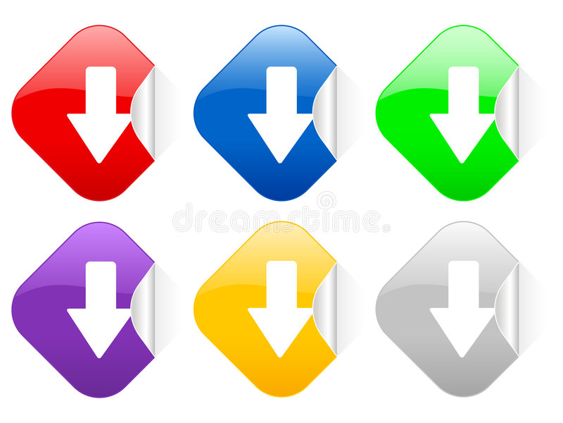 Des Pfeiles quadratische Aufkleber unten stock abbildung