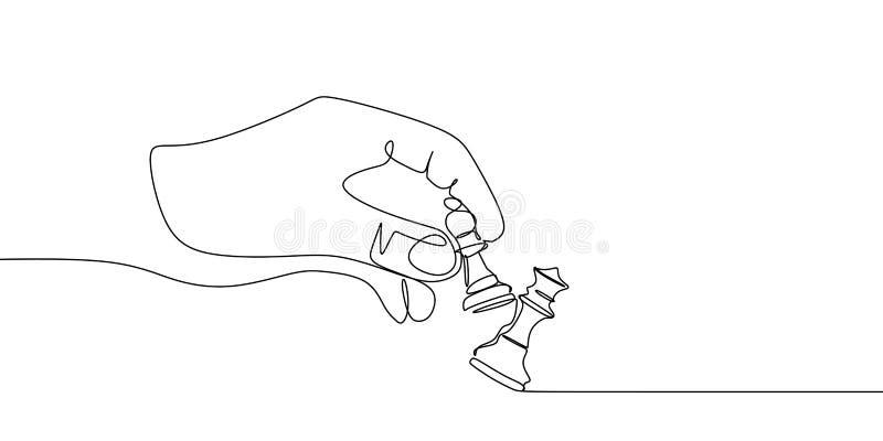 Des pièces d'échecs de gage et de reine sont dessinées par une ligne noire sur un fond blanc Dessin au trait continu Illustration illustration libre de droits