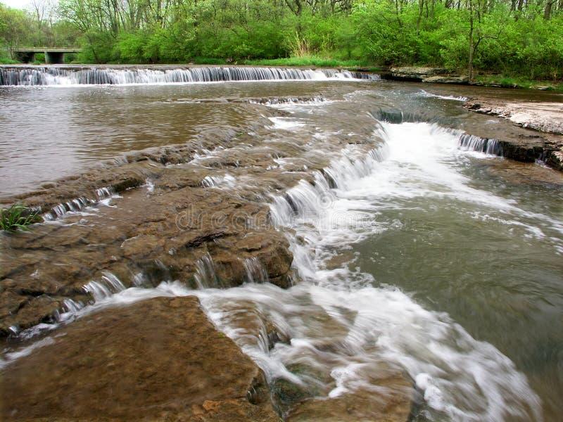 Des Plaines Conservation Area Illinois. Beautiful cascade on Prairie Creek of the Des Plaines Conservation Area in Illinois stock photo