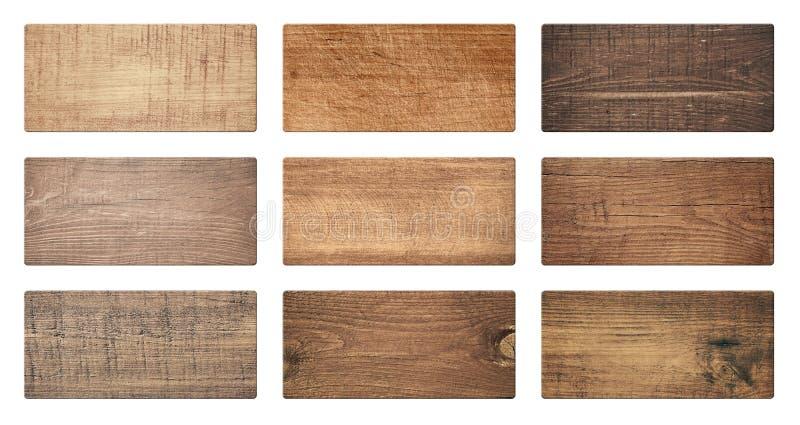 Des planches à découper en bois de Brown, enseigne, planches sont isolées sur le fond blanc photos libres de droits
