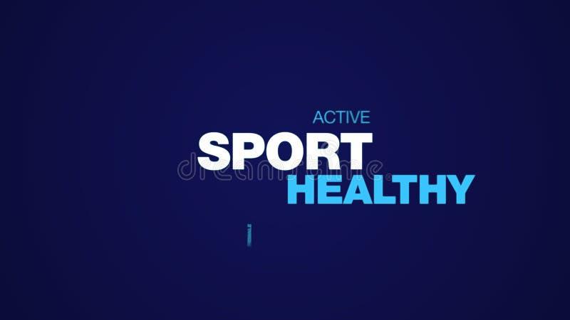 Des Rüttlerlebensstils des Sports belebten weibliche Leute des gesunden Eignungsstoßübungs-Läufers geeigneten Wortwolkenhintergru lizenzfreies stockbild