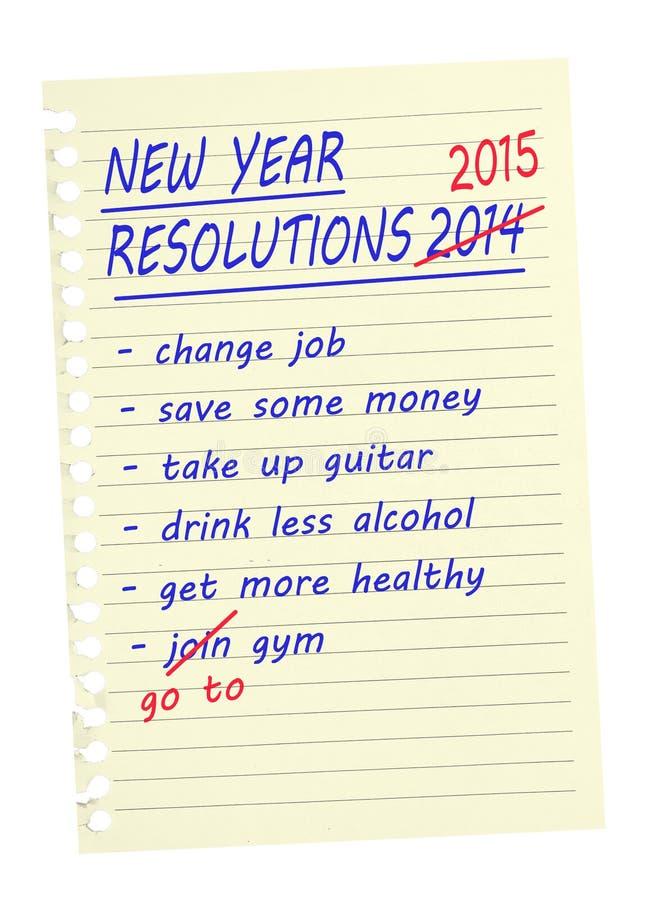 Des résolutions de nouvelle année - énumérez le même encore 2015 photos libres de droits